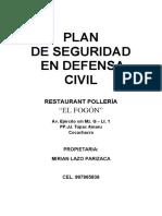 PLAN DE SEGURIDAD RESTAURANT POLLERIA EL FOGON