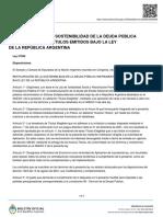 Oficializan la ley de reestructuración de la deuda pública emitida bajo ley argentina