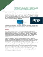 Capacitors and its applications