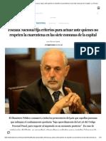 Fiscalía Nacional fija criterios para actuar ante quienes no respeten la cuarentena en las siete comunas de la capital - La Tercera