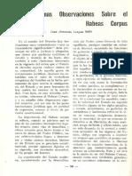 Algunas Observaciones del Habeas Corpus