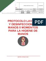PROTOCOLO LAVADO Y DESINFECCION DE MANOS 5 MOMENTOS PARA LA HIGIENE DE MANOS