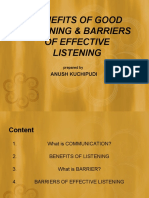 Benefits of Good Listening & Barriers of Effective