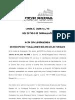 ACTA CIRCUNSTANCIADA DE RECEPCIÓN DE BOLETAS