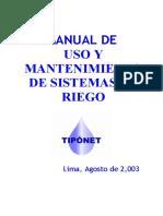 Manual de uso y mantenimiento de sistemas de riego