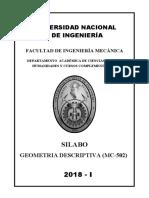 MC-502 Geometrìa Descriptiva 2018-I