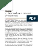 Cómo evaluar el mensaje presidencial, 31.07.2020 (1)