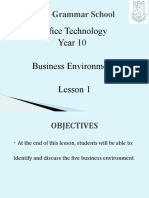 Year 10 Lesson Notes 1 Business Envrionment