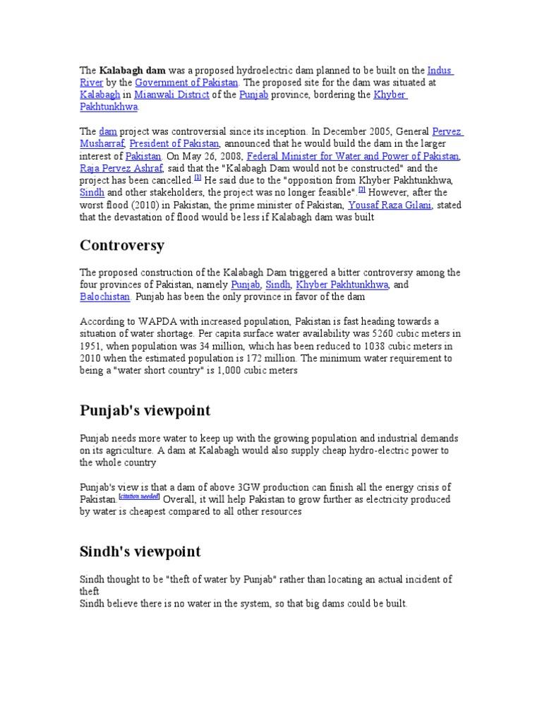 literature review of kalabagh dam