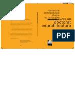 Vers un doctorat en architecture