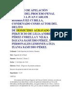 RECURSO DE APELACIÓN DENTRO DEL PROCESO PENAL SEGUIDO A JUAN CARLOS RODRÍGUEZ CUBILLA
