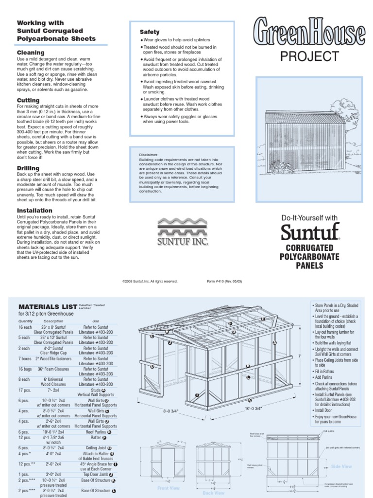 Suntuf Corrugated Polycarbonate Sheets Greenhouse | Maderas