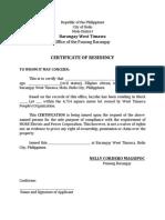 Certificate of Residency