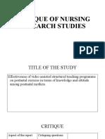 Critique of Nursing Research Studies
