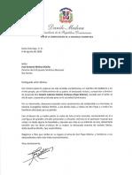 Carta de condolencias del presidente Danilo Medina a José Antonio Molina Miniño por fallecimiento de su padre, Ramón Antonio Molina Pacheco (Papa Molina)