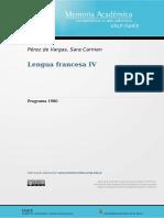 Programa Lengua francesa IV-1980