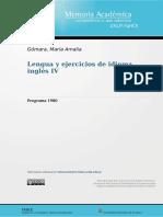 Programa Lengua y ejercicios de idioma inglés IV-1980