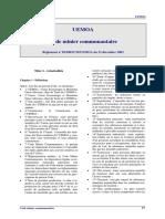 Règlement n°18-2003-CM-UEMOA_Code minier communautaire