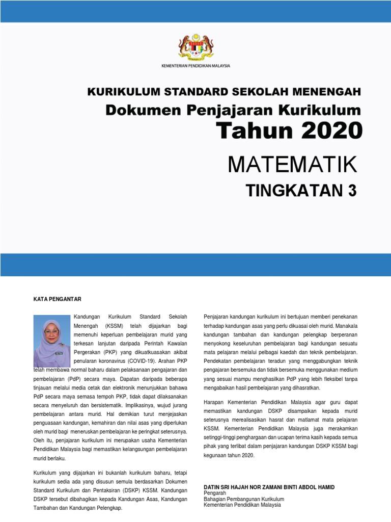 Dokumen Penjajaran Kurikulum 2020 Tingkatan 4