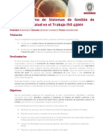Auditor Interno de Sistemas de Gestión de Seguridad y Salud en el Trabajo ISO 45001