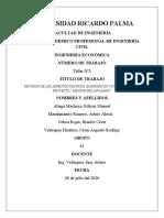 """REVISION DE LOS ASPECTOS TÉCNICOS, ECONÓMICOS Y EVALUACION DEL PROYECTO """"AERÓDROMO ANGAMOS"""""""