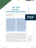 DAMACENO, Carolina Duarte. Formalismo Russo Em Sala de Aula, Uma Introdução à Poesia