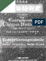 Konvertierungstabelle Pinyin und Wade-Giles