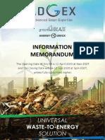 WASTE-TO-ENERGY Information Memerandum dt 12 Apr, 2020