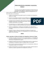 POLÍTICA DEL SISTEMA DE GESTIÓN DE LA SEGURIDAD Y SALUD EN EL