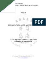 Pauta da 3ª Sessão Ordinaria do 2° Periodo Legislativo de 13 de  agosto de 2020