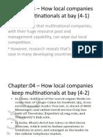 Chapter 04- How local companies keep multinatinals at bay
