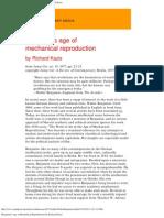 Benjamin's Age of Mechanical Reproduction by Richard Kazis