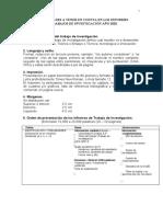 Formalidades de los Informes de Trabajos de Investigación  XCVD