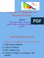 Chapter 15-Reasons for Business Failure