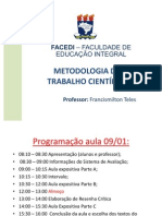 AULA METODOLOGIA DO TRABALHO CIENTIFICO FACEDI