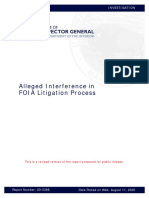 DOI IG Alleged FOIA Interference