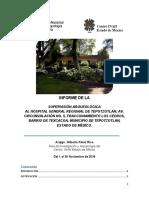 Supervisión Arqueológica en el Hospital Regional de Tepotzotlan 2018