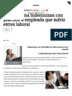 En Argentina Indemnizan con $140.000 a empleada que sufrio estres laboral