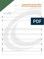 Workshop Suggestion Form