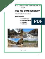 PROPUESTA DE CLASIFICACION DE CUERPOS DE AGUA DE LA CUENCA DEL RIO GUADALQUIVIR