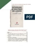 Culture - Civilisation - Anthropologie - Ethnologie (Dans D. et R. Galisson, dir., Dico de DLE, 1974)