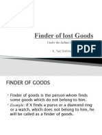"""""""Finder of Lost Goods"""" in LAW OF CONTRACTS"""