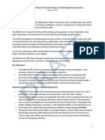 Alberta Party Draft Policy Paper on Municipal Governance