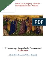 XI Domingo Despues de Pentecostes. Propio y Ordinario de la santa misa rezada