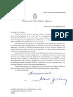 Carta de Fernández a Putin