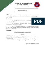 Resolución Junta Municipal de Defensa Civil