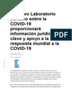 El nuevo Laboratorio Jurídico sobre la COVID