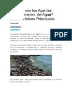 Cuáles son los Agentes Contaminantes del Agua