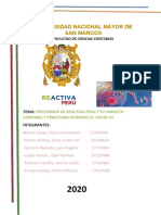 PRESTAMOS DE  REACTIVA PERU IMPACTO CONTABLE Y TRIBUTARIO