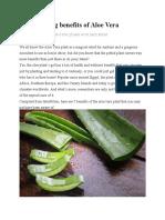 Five amazing benefits of Aloe Vera